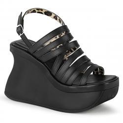 Sandale compensée gothique noire à lanières Demonia