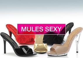 Mules sexy, avec ou sans plateforme petite et grande taille